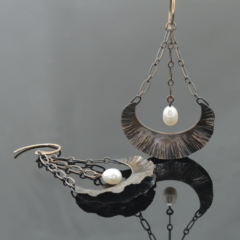 Bronze Floral Earrings with Pearl on Chain