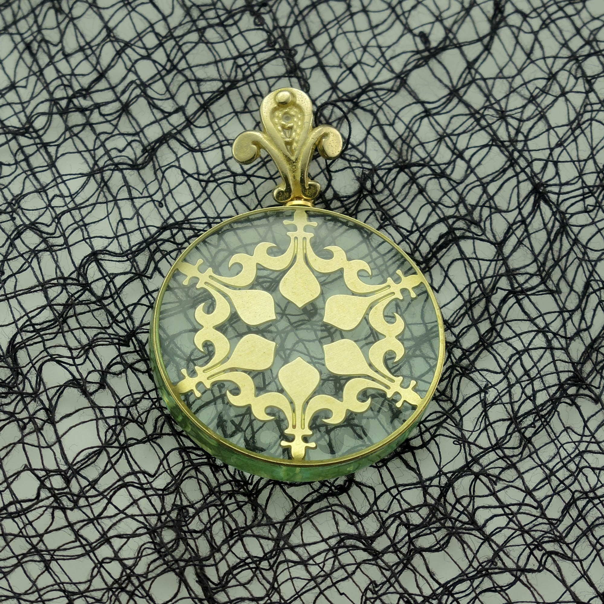 Fleur d'Lis Brass and Acrylic Pendant