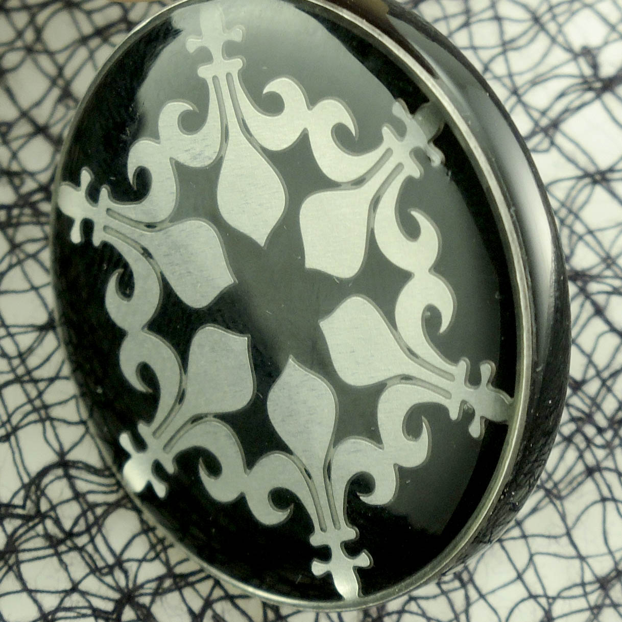 Fleur d'Lis Stainless Steel and Black Acrylic Pendant