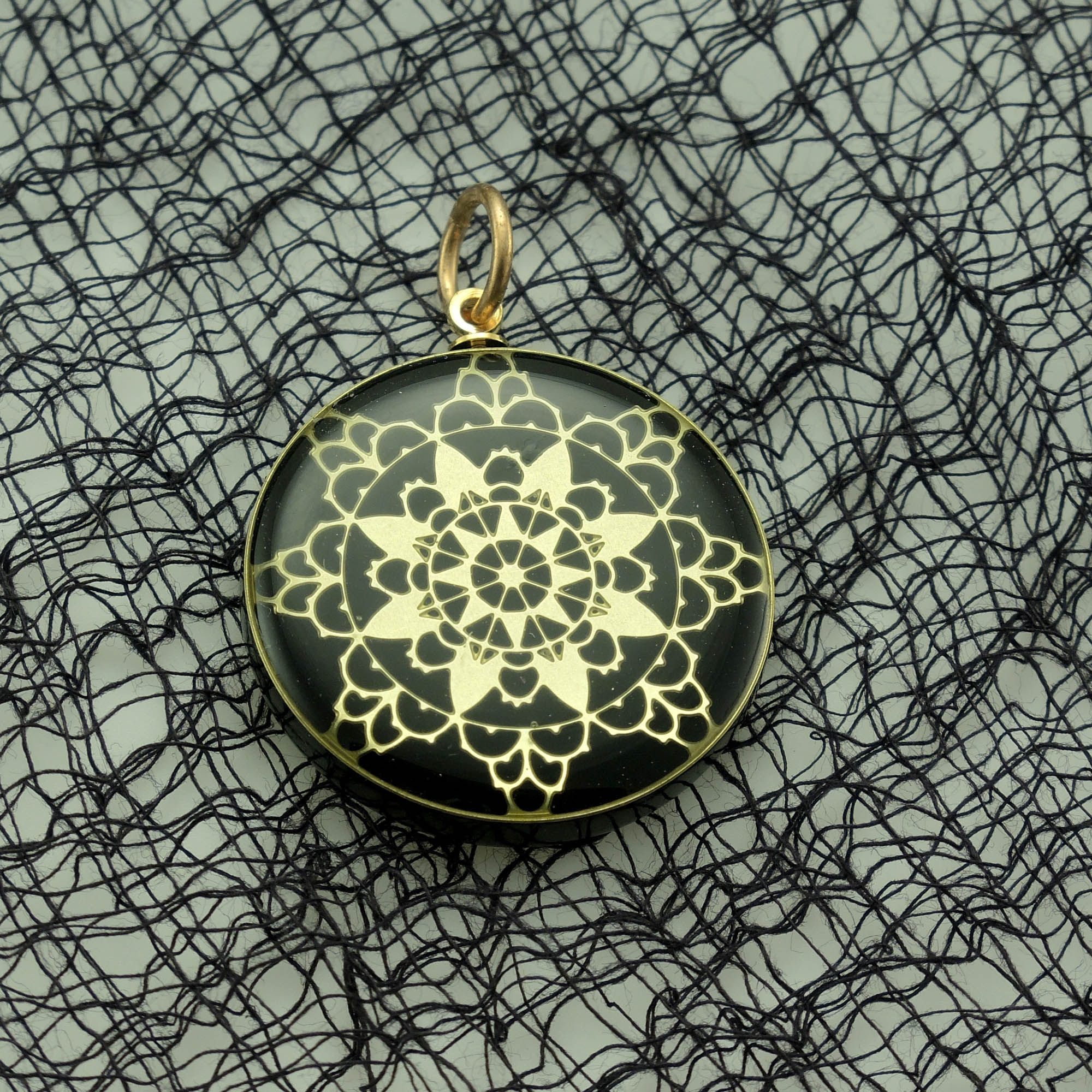 Brass Lace and Black Acrylic Pendant