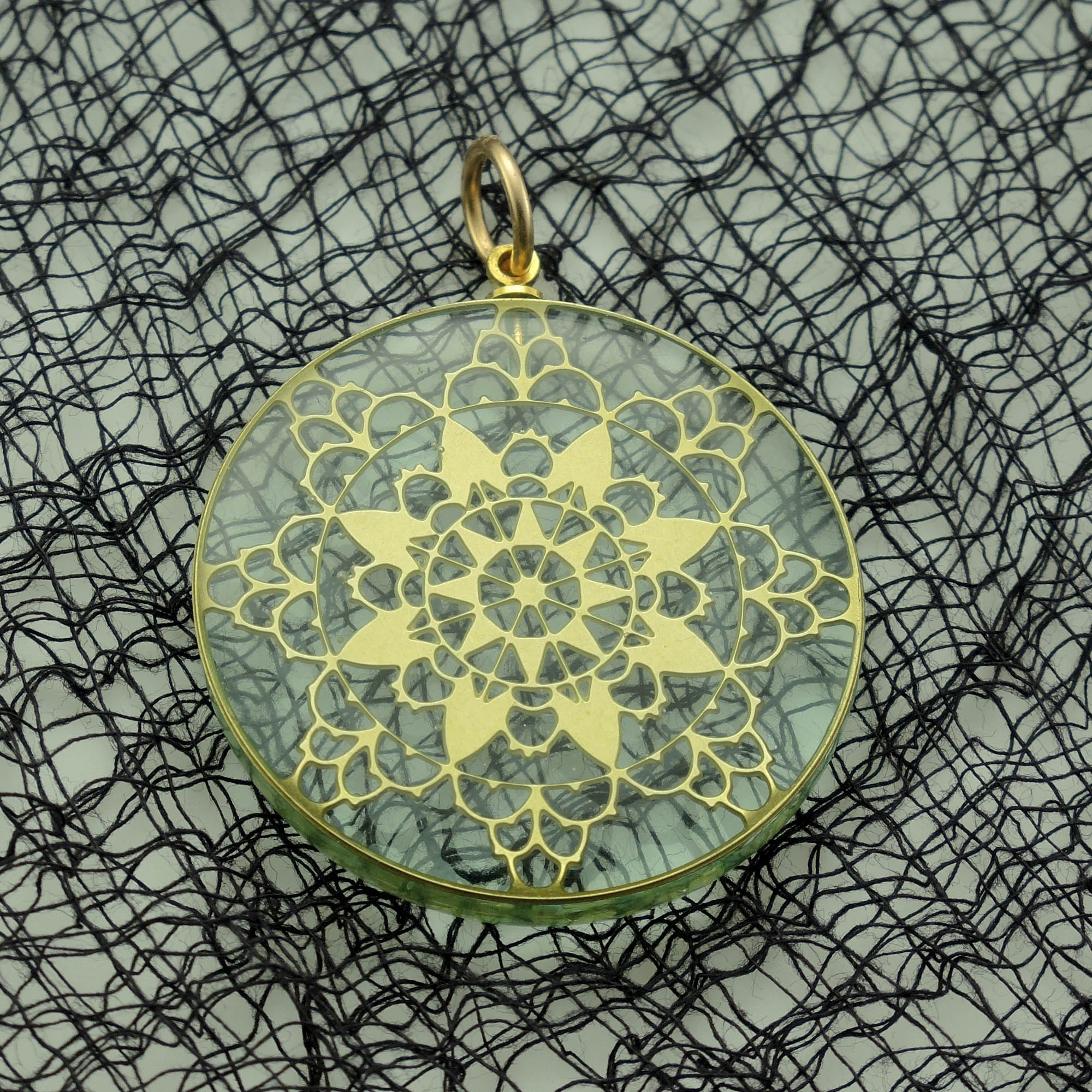Brass Lace and Acrylic Glass Pendant