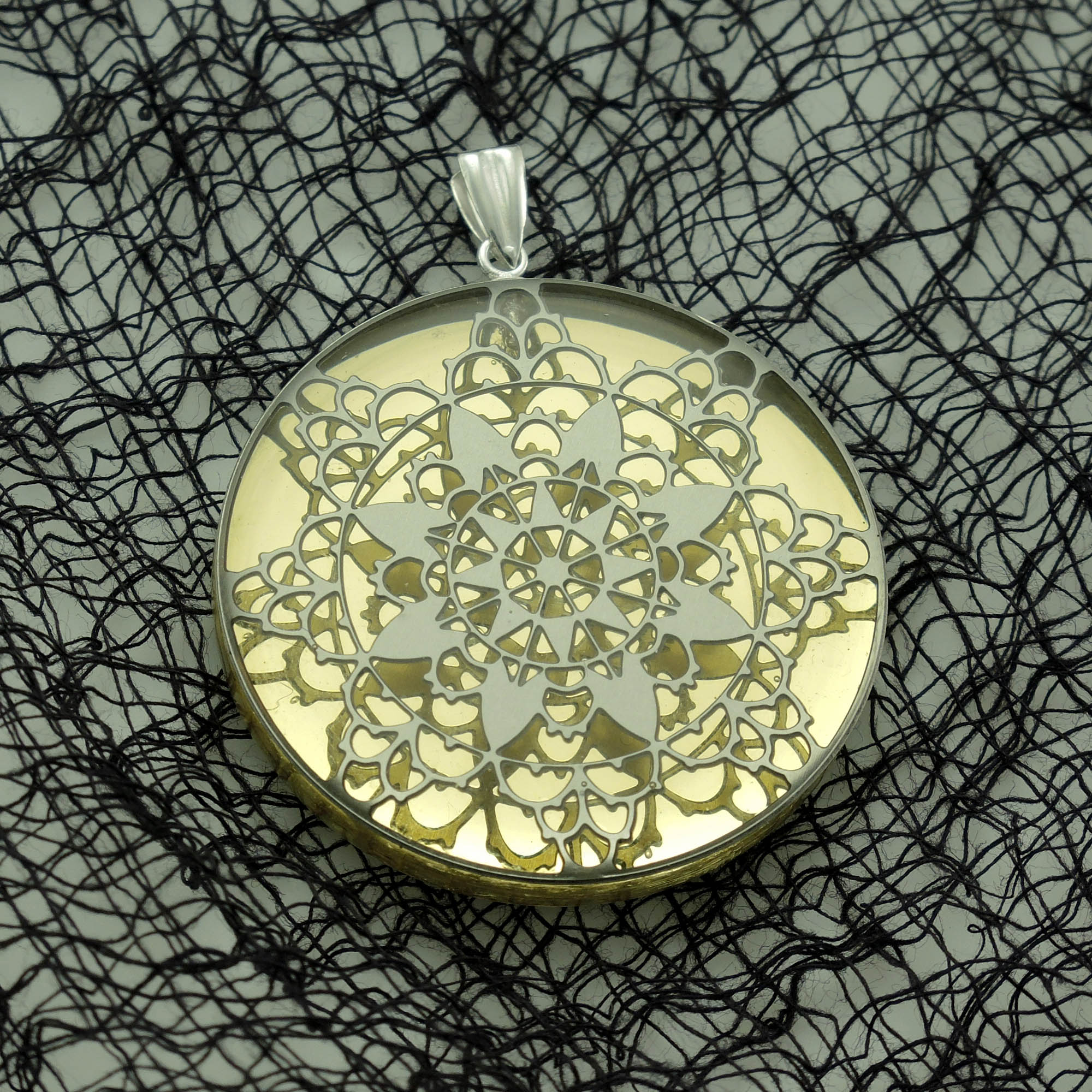 Stainless Steel Lace and Acrylic Pendant