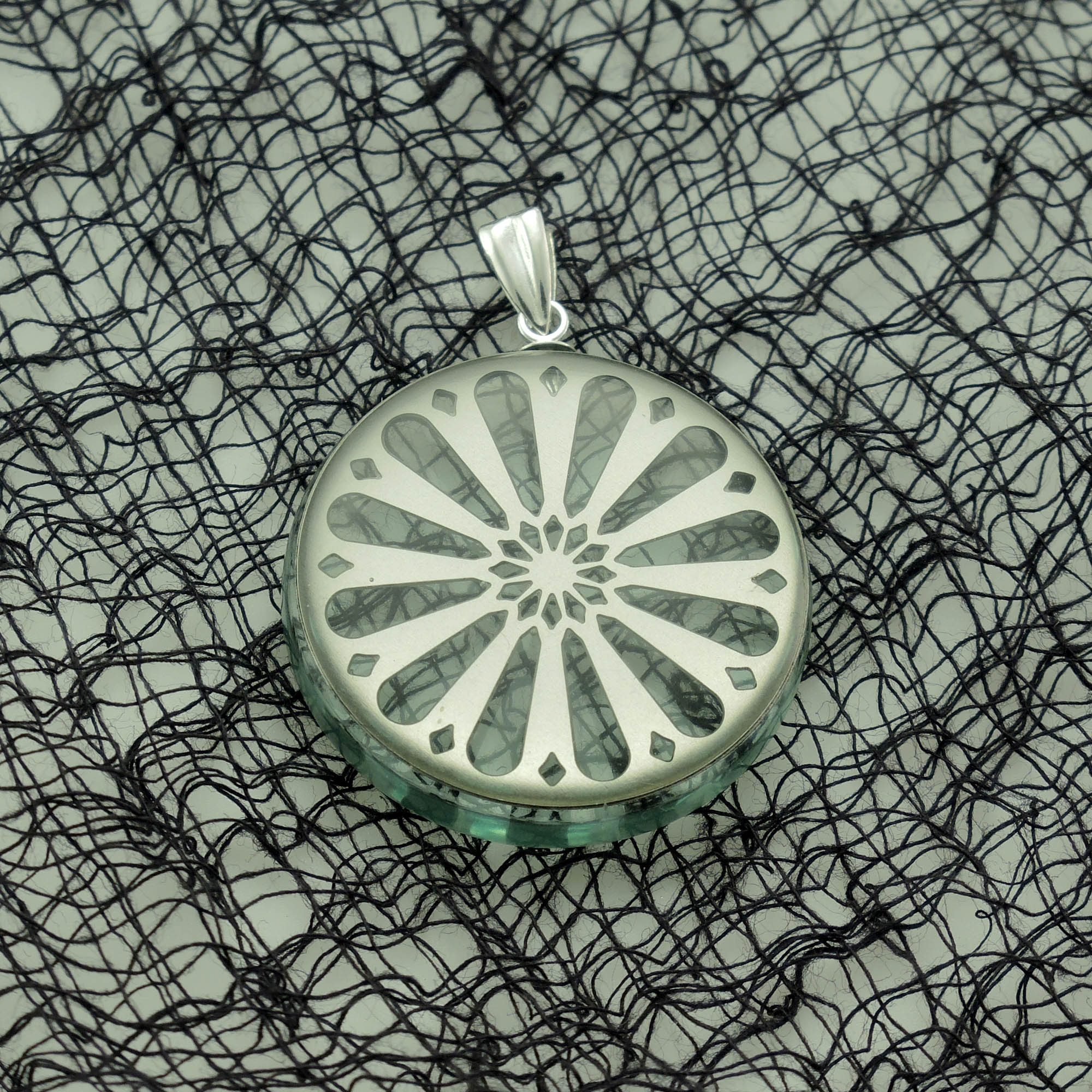 Sunburst Stainless Steel and Acrylic Glass Pendant