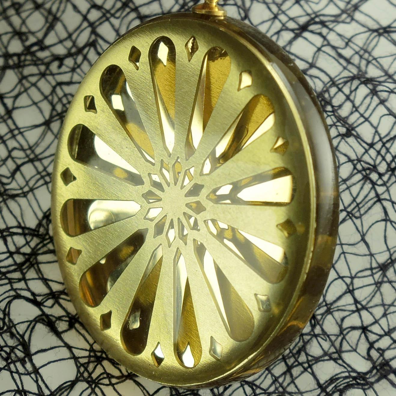 Sunburst Brass and Acrylic Pendant
