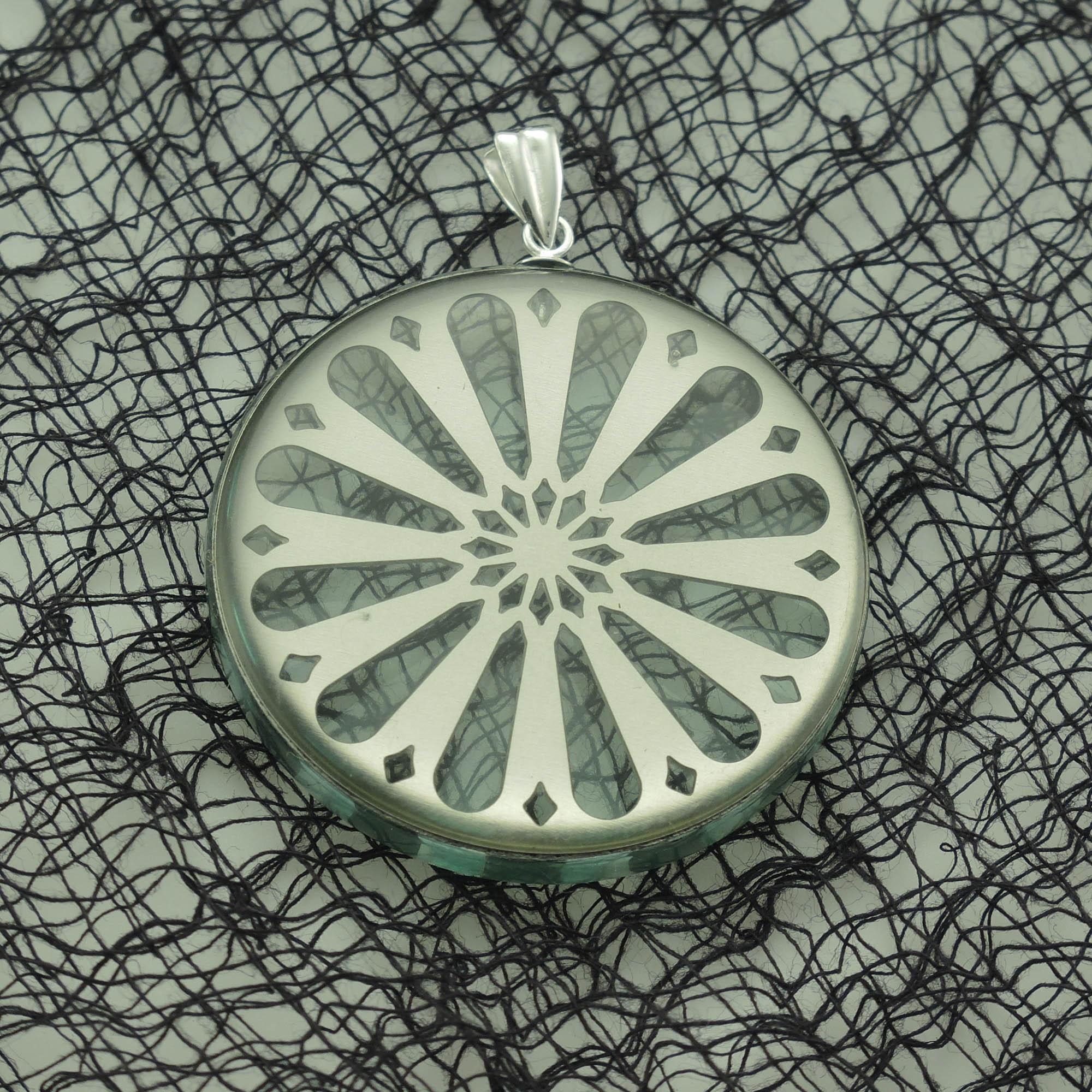 Stainless Steel Sunburst and Acrylic Pendant