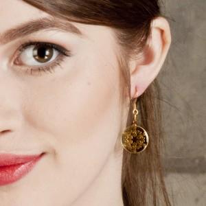 Fleur d' Lis Earrings in Brass on Acrylic Glass
